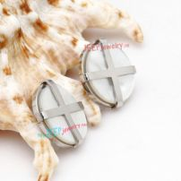 Silver Circle-Shape Bowknot Pattern of Stainless Steel Special Men's Hoop Earrings
