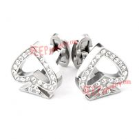 Heart-Shape White Crystal Cufflinks Wholesale Jewelry Findings