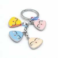 Cute and funny smiling rice face-shaped keychains stainless steel nigerian key rings