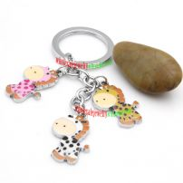 Adorable Iron Annulus Key Ring with three Dairy Cow Decorations Cable Key Rings