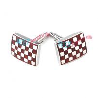 Red & White Grid Rectangular Stainless Steel Cufflinks Designer Jewelry