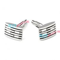 Silver & Black Brick Stainless Steel Cufflinks Christmas Jewelry