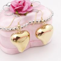 Charming heart gold plated stainless steel eardrop