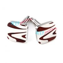 Red & White Sea Wave Pattern Square-Shape Stainless Steel Cufflinks Wholesale Costume Jewelry