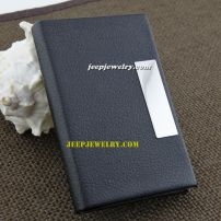 Full of black leather and rectangle plate alloy cardcase