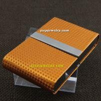 Full of grid in yellow leather attractive alloy cardcase
