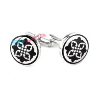 Black & White Delicate Embroidery Stainless Steel Cufflinks Costume Jewelry