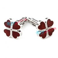 Red Hear Four-Leaf-Clover Steel Cufflinks Wholesale Lots White Gold