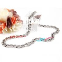 Double color locks interlaced the stainless steel necklace