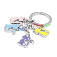 Elegant Iron Annulus Key Ring with cute Cat Decorations Cheap Key Rings