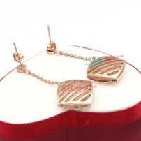 Special Fashion Style Golden Hollow Design Rhombus of Stainless Steel Turquoise Earrings
