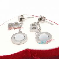 Cool Style of Silver Circle pendant & B letter pendant of Stainless Steel Stud Earrings