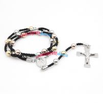 The Stainless Steel Crucifix Necklace with Three Different Color Beads Brings Noble Feeling