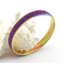 Beautiful Slender Bangle with Many Small Blue and Red Balls Jewelry Supplies