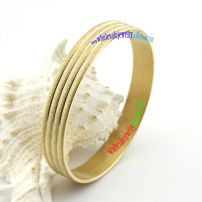 Wealth Rich Pure Golden Bangle with Sanded Surface and Three Bright Golden Lines Fashion Costume Jewelry Wholesale