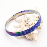 Fashion Theme of Silver Spots & Blue Sea of Stainless Steel Eternity Bangles Sets