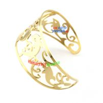 Golden Color Bangle with the Design of hollow out Dolphins from Costume Jewelry Supplier