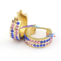 hot product top quality stainless steel pink&blue Rhinestone earrings