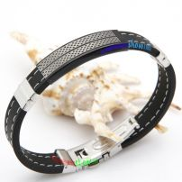 Latest design fashion silver leather Indian bangles with inlay for ladies' love