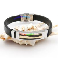 Simple Fashion Style Black Leather Bangle with Silvery Stainless Steel Rectangle Small Bangles