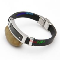 Black Silvery Stereo Fashionable Leather Bangle Glass Bangles Online