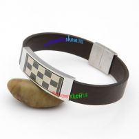 Smooth Brown Leather Bangle with Black and White Checks Stainless Steel Ethnic Bangles