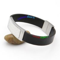 The one Wedding Bangles Watch style leather bangle in black