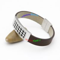 Silvery Rectangle with Black And White Checks Gentle and Smart Brown Leather Bangle Contemporary Bangles