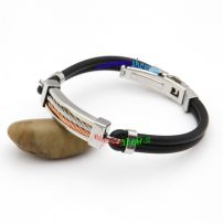 Metallic Fashion Style Black Leather Bangle with Thick Orange And Silvery Metal Wire Large Size Bangles