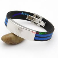 Fashionable Black Alternates with Dark Blue Leather Bangle with Simple Stainless Steel Gents Bangles