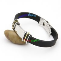 Smart Black Leather Bangle with Silvery Rectangle And Colorful Circles Indian Jewellery Bangles