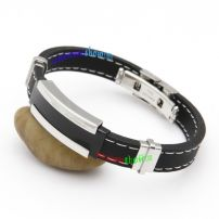 Casual Thick Black Leather Bangle with Double White Stitching Sequin Bangles