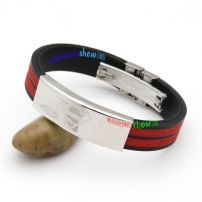 Energetic Red Alternates with Black Leather Bangle with Silvery Rectangle Two Tone Bangles
