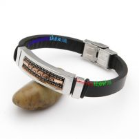 Pure Black Cow Leather Bangle with Brown Patterns Stainless Steel 24k Gold Bangles