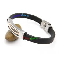 Retro Fashion Style Black Leather Bangle with Bronze Stainless Steel Mens Leather Bangles