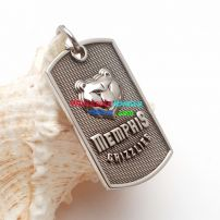 Fashion Style Silver Cool Tiger Pattern With English Words-MEMPHIS Stainless Steel Men's Pendant
