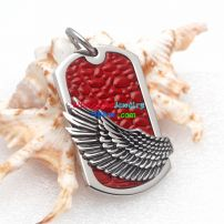 Fashion Ellipse Hawk Wing Red base Black wing Stainless Steel Pendant for Beautiful Pendant Collectors