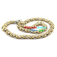 Unique Gold Hearted-Shape Silver Chain Design of Mens Stainless Steel Bracelet