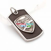 Stylish Cool Shield Design of Arsenal Sign Black & Silver Oval Popular Men Pendant Charms