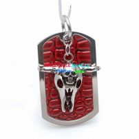 Cool Wolf Head Design with a Small Skull Bone Red Brinks Background Stainless Steel Pendant
