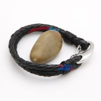 Men\\\\\\\'s 8 Inch Black Leather Bracelet With Stainless Steel