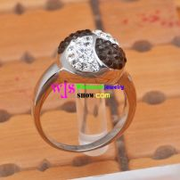 black and white shining stone stainless steel ring for woman