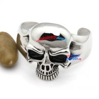 Jewelry Vintage Stainless Steel Skull Biker Tribal Mens Bangle Cuff Bracelet - Color Black Silver
