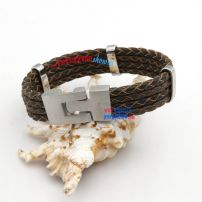 Weaved Fashionable Leather Bracelet with Stainless Steel Used As Gift Fashion Jewelry China