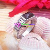 stainless steel mens ring with black gems