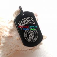 A Natural Style black Stainless Steel Pendant Reads MARINES cool dog tag