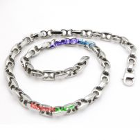 Fascinating Bold Dark Silvery Stainless Steel Ball Chain Necklace with Smooth Surface