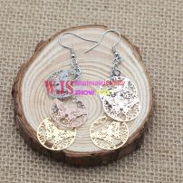 Miadora New! Rose-plated Stainless Steel Openwork Leaf Design Earrings