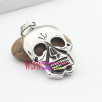 Stainless steel cool no eyes angry shiny big skeleton pendant with no gender limitation