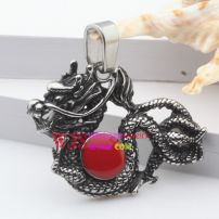 Stainless steel big red and powerful dragon flying among clouds give you energy pendant